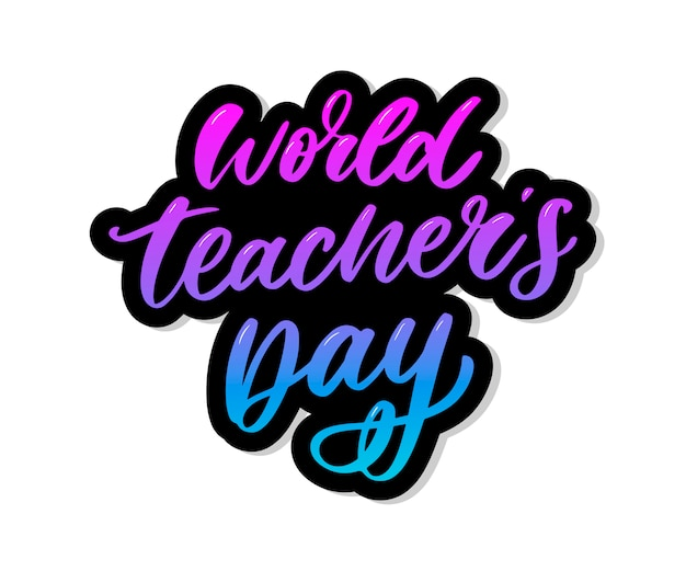 Cartel para pincel de caligrafía de letras del día mundial del maestro