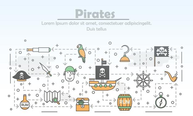 Cartel de piratas de arte de línea delgada