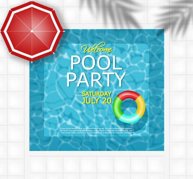 Cartel de piscina de verano y anillo de vida.