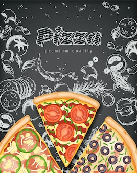Cartel de pizza. anuncios de pizza sabrosa con ingredientes de ilustración 3d en doodle de tiza de estilo.