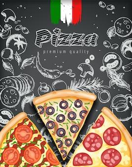 Cartel de pizza de color.