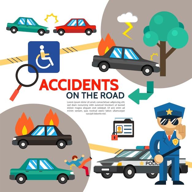 Cartel plano de accidente de tráfico con accidente automovilístico, coche en llamas, peatón, golpe, oficial de policía, signo de discapacidad discapacitado