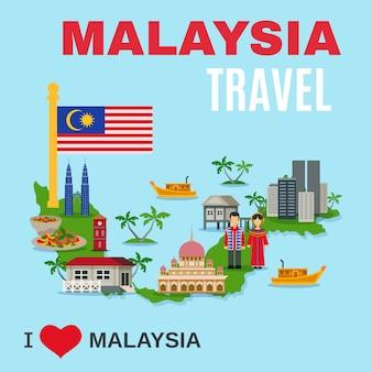 Cartel plano de la agencia de viajes de la cultura de malasia