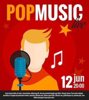 Cartel plano de cantante pop