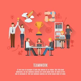 Cartel plano de concepto de trabajo en equipo de negocios
