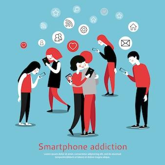 Cartel plano de la conciencia de la adicción de smartphone