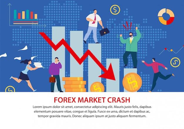 Cartel plano de la crisis económica del aplastamiento del mercado de divisas