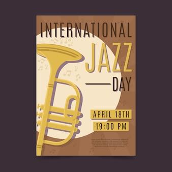 Cartel plano del día internacional del jazz