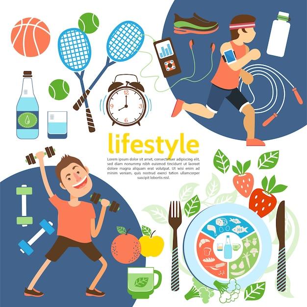 Cartel plano de estilo de vida saludable con atletas, equipamiento deportivo, zapatillas, reloj despertador, nutrición adecuada, ilustración