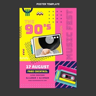 Cartel plano del festival de música nostálgico de los 90.