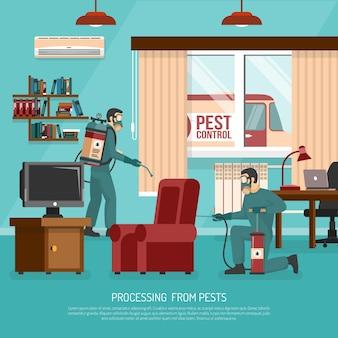 Cartel plano interior del anuncio del tratamiento del control de parásito