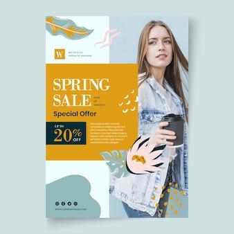 Cartel plano de primavera con descuento.