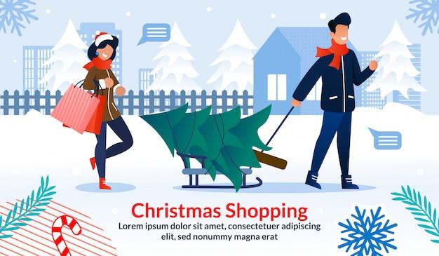 Cartel plano publicitario familiar de compras navideñas
