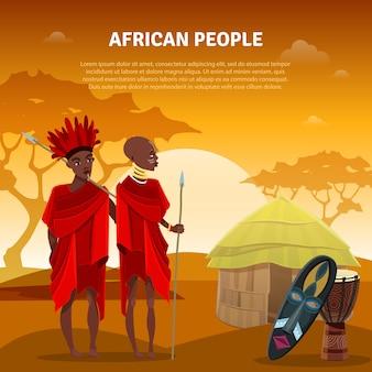 Cartel plano pueblo africano y cultura