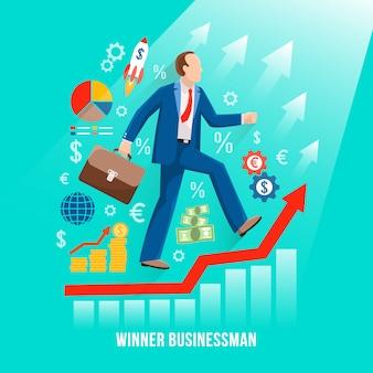 Cartel plano simbólico del hombre de negocios acertado