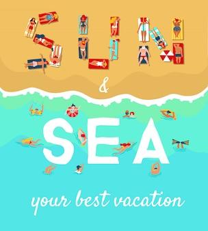 Cartel plano de vacaciones de playa de verano