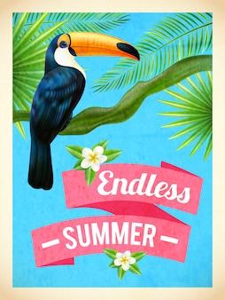Cartel plano de vacaciones de verano de tucán