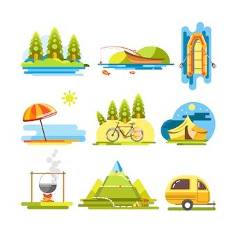 Cartel plano del vector colorido de las actividades del verano en blanco.