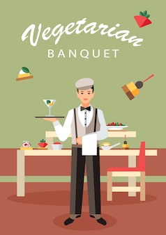 Cartel plano vegetariano del vector del abastecimiento del banquete