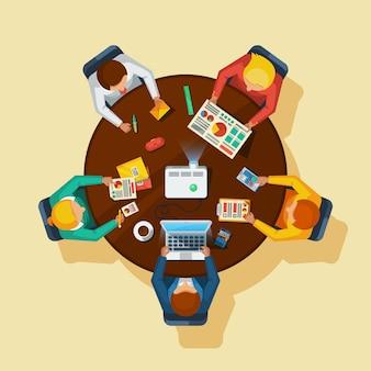 Cartel plano de la vista superior de reuniones de negocios