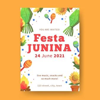 Cartel de plantilla acuarela festa junina