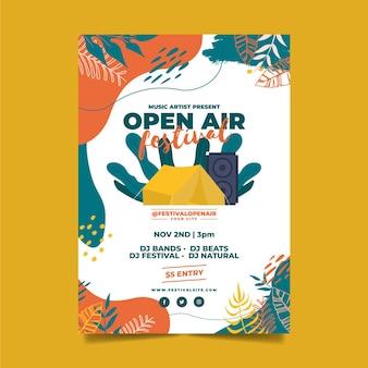 Cartel de plantilla de festival de música al aire libre