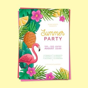 Cartel de plantilla de fiesta de verano dibujado a mano