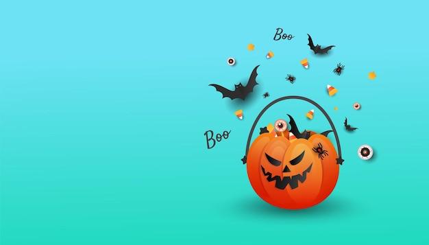 Cartel de plantilla de halloween feliz de jack o lantern con calabaza de truco o trato