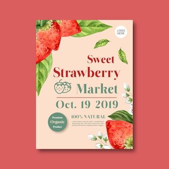 Cartel con plantilla de ilustración de tema de frutas, fresa creativa y flor
