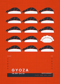Cartel de plantilla de impresión geométrica de comida japonesa