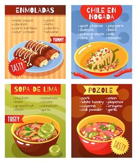 Cartel de platos de comida mexicana