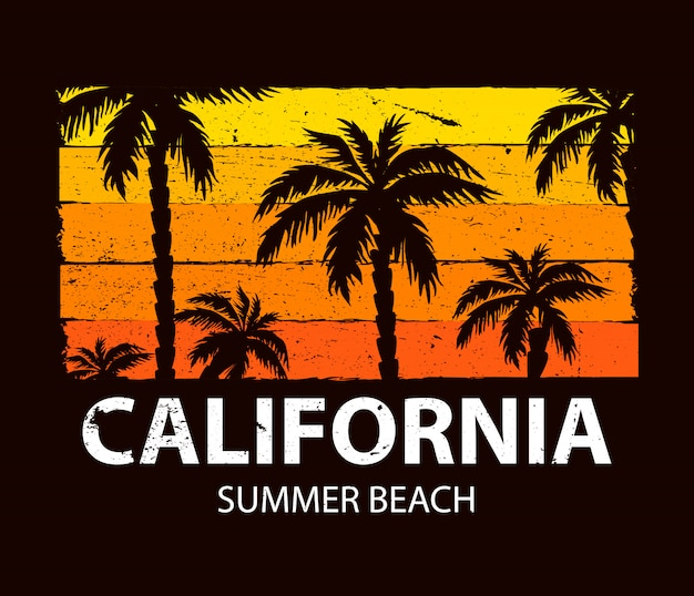 Cartel de playa de verano de california