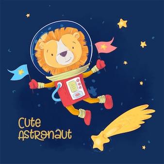Cartel de la postal del astronauta lindo león en el espacio con constelaciones y estrellas en estilo de dibujos animados.