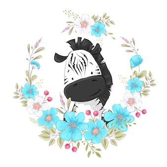Cartel de postal linda cebra pequeña en una guirnalda de flores