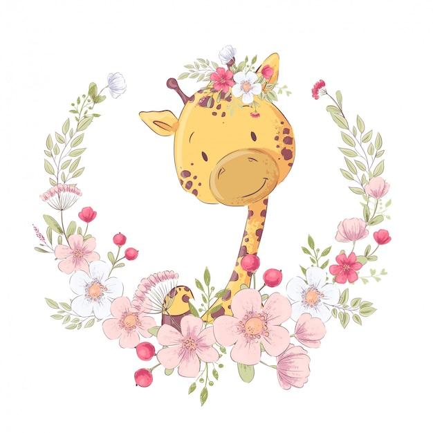 Cartel de postal linda jirafa en una guirnalda de flores