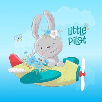 Cartel postal lindo conejito en el avión y flores en estilo de dibujos animados
