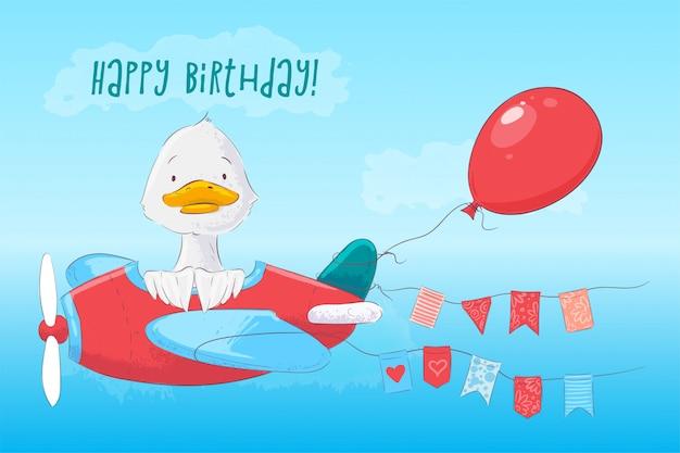 Cartel de la postal lindo pato en el avión y flores en estilo de dibujos animados.