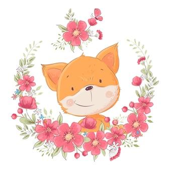 Cartel de la postal lindo pequeño zorro en una guirnalda de flores