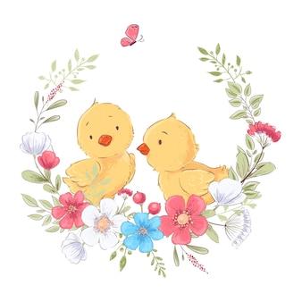 Cartel de postal lindos pollitos en una guirnalda de flores
