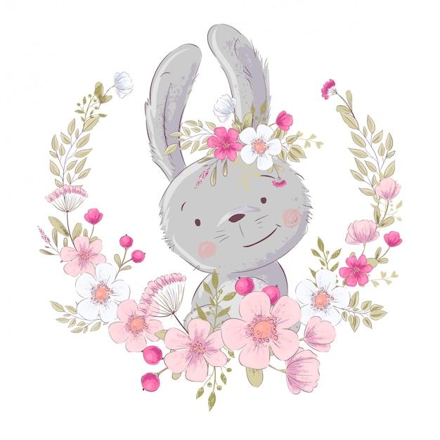 Cartel de la postal pequeño conejito lindo en una guirnalda de flores.