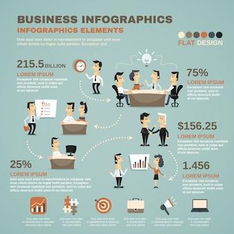 Cartel de presentación de infografías de trabajo de oficina