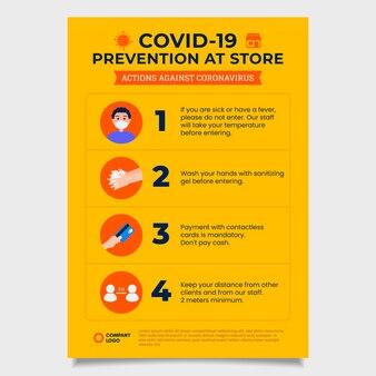 Cartel de prevención de coronavirus amarillo.