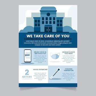 Cartel de prevención de coronavirus de diseño plano para hoteles.