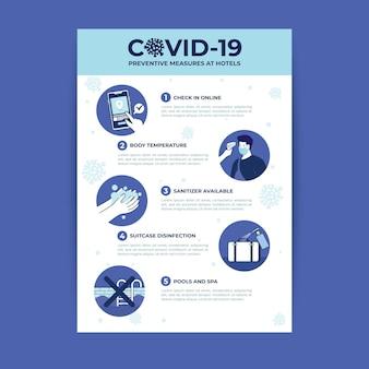 Cartel de prevención de coronavirus plano orgánico para hoteles.