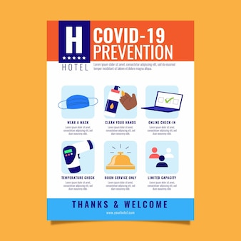 Cartel de prevención de coronavirus para plantilla de hoteles.