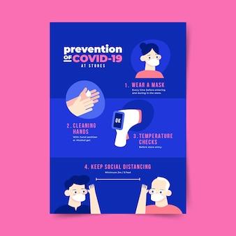 Cartel de prevención de coronavirus para plantilla de tiendas