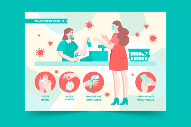 Cartel de prevención de coronavirus para tiendas