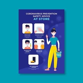 Cartel de prevención de coronavirus para tiendas.