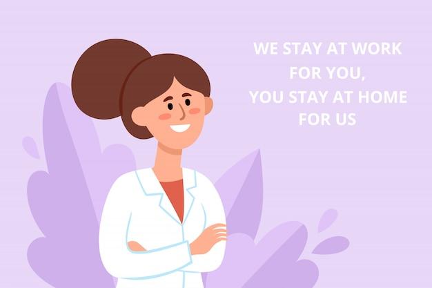 Cartel de prevención con doctora china luchando contra el coronavirus con consejos. ilustración del trabajador médico sonriente en el fondo de las plantas, folleto de protección contra el coronavirus - quédese en casa