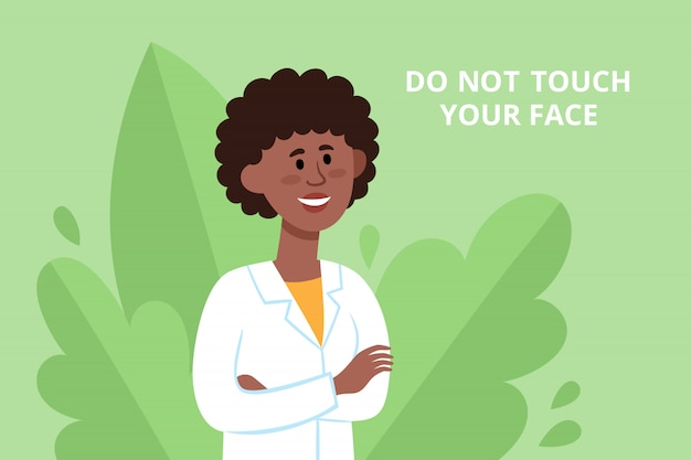 Cartel de prevención con doctora china luchando contra el coronavirus con consejos. ilustración del trabajador médico sonriente en el fondo de las plantas, folleto de protección - no toque su cara